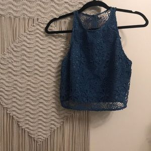Tops - Blue floral lace tank top
